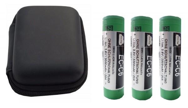 3 x EC-C6 - 18650 Akku inkl. Akkutasche und MC1 Ladegerät