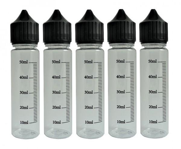 5 PET Mischflaschen graduiert 60ml / 120 ml