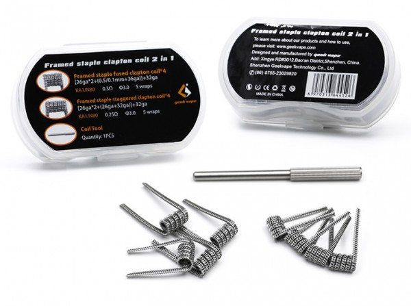 8 x GeekVape Framed Staple Clapton Coil - KA1/N80 - 2 in 1 Box